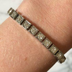 🔥 Vintage Silver Tone Rhinestone Tennis Bracelet